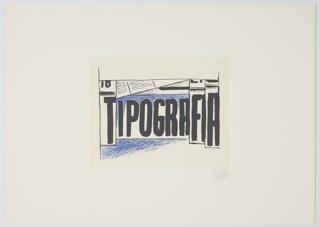 """Print, Tipografia Scenario from """"Progetti Scenici per 'Sintesi Futuriste'"""" Portfolio, Typographic Scenery"""