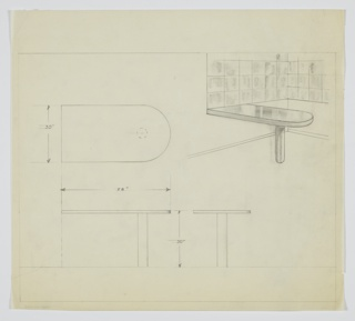 Drawing, Table, built-in, ca. 1931