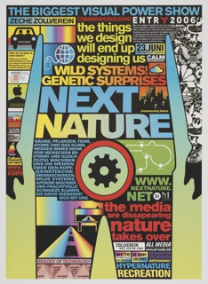 Poster depicting a frontal, partial silhouette of a man, against a blue, green, and yellow background (colors fade into each other, from top to bottom). The man is covered with colorful text and imagery, suggesting the power of mass communication. A spinning gear appears in place of his genitalia. Printed in blue ink, along top: THE BIGGEST VISUAL POWER SHOW; in blue and yellow ink, center: NEXT NATURE. Other text printed in red, yellow, orange, blue, white, and green in various places across man's body.