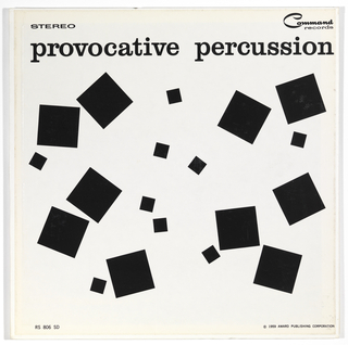 "A random arrangement of large and small black squares float on a white field. At top of album, the title ""provocative percussion"" is printed in lower case black type. At top left is the word Stereo and at top right is the Command records logo. At bottom left is printed RS 806 SD and at bottom right, @1959 Award Publishing Corporation."