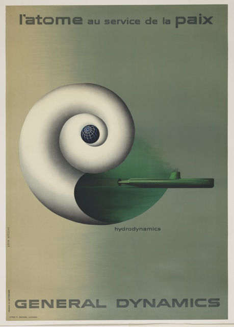 Poster depicts a white nautilus shell with grey shading along the edges in the center against a background that gradually changes color from yellow-brown on the left to grey-green on the right. A black, blue, and white globe appears in the center of the nautilus shell, and a green submarine (the USS Nautilus, the first nuclear-powered submarine) is shown emerging from the opening at the shell's base. Printed in black ink, along top: l'atome au service de la paix (atoms for peace); along bottom: GENERAL DYNAMICS; center: hydrodynamics.