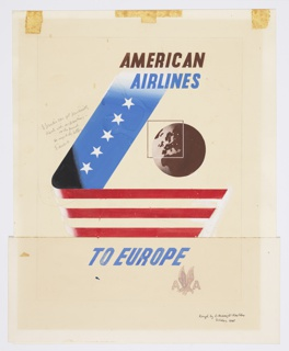 Poster design encouraging travel to Europe via American Airlines. Ribbon in L-shape with white stars on blue, and red and white stripes. On right, depiction of a globe in black and white with superimposed square highlighting the European region. In black and blue text, upper right: AMERICAN / AIRLINES. in blue, lower center: TO EUROPE / [American Airlines logo in light gray].