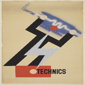 Design for a Modern Lighting Technics poster. At center, an abstract figure composed of lightning bolts holds a charged filament over its head. To the left, extending at a right angle from the figure's hand at left: MODERN [vertically, in blue outline] LIGHTING [horizontally, in blue]. The figure stands on a red block at bottom. Superimposed over red block, in black block txt: TECHNICS.