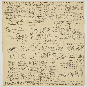 Poster for a film about Robert Smithson's earthwork sculpture, Spiral Jetty, located in Great Salt Lake, Utah. The poster is advertising the showing of the film in an exhibition at the Dwan Gallery in New York City from October 31–November 25, 1970. The sheet is completely covered with film storyboard sketches for sequencing of the documentary. The top (Part 1) shows shots of dust, road, mountains, and the Hall of Late Dinosaurs at the American Museum of Natural History. The center of the poster shows water shots and the placing of stakes. The bottom (Part 2) shows sketches of aerial views of the Spiral Jetty. Reproductions of handwritten notes accompany the small drawings. Both the notes and images are printed in black against a tan or light brown background.
