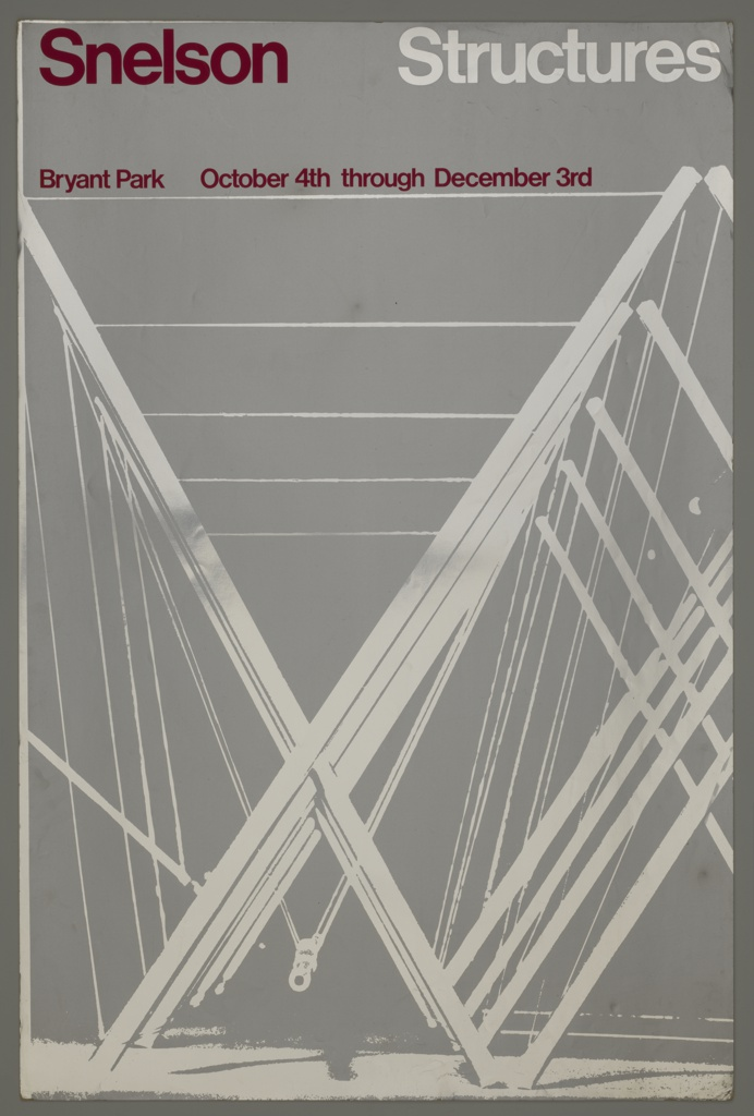 Poster for an exhibition of Kenneth Snelson's work in Bryant Park, NYC. Consists of white diagonal and horizontal beams against a silver background. Printed in red ink, upper left: Snelson; in white ink, upper right: Structures. Printed directly below, in red: Bryant Park  October 4th through December 3rd.
