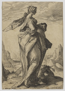 The old testament profect Debora, in profile facing right, in a landscape. She holds a book in her left hand, her right is at her waist.