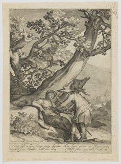 Landscape with Judah offering a ring and a staff to Tamar, who is reclining and wearing a veil, a large tree beyond