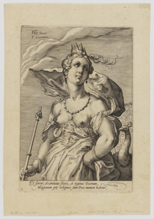 Juno, half-length, wearing a crown and holding a sceptre, accompanied by a peacock at right