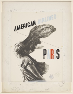 Poster for American Airlines advertising Paris. Photoillustration in gray-scale of the Winged Victory of Samothrace from the Louvre collection.Text in black and blue, upper center: AMERICAN AIRLINES; center right, multicolored text: PARIS. [American Airlines logo in light gray], lower right.