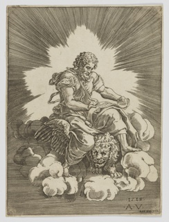 Saint Mark, sitting within a penumbra of light, on the back of a winged lion atop a cloud, reading a scroll
