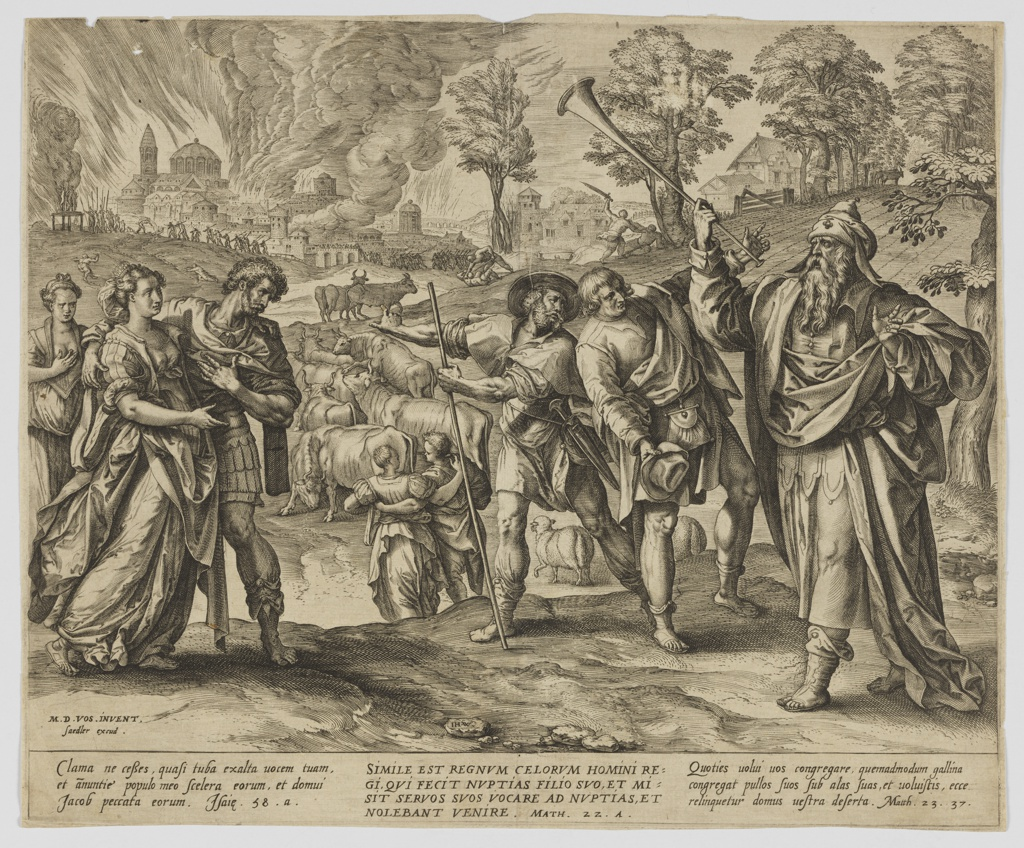 Print, The king has his servants invite guests to the wedding party, from the series 'Parable of the Wedding Feast', late 16th century