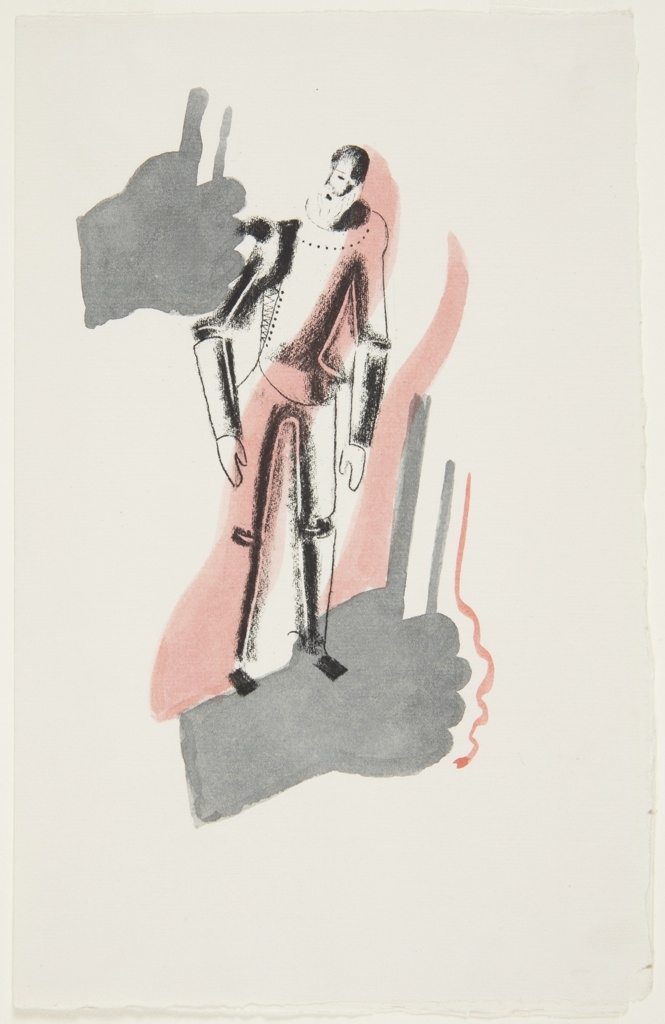 Illustration for a Nonesuch Press edition of Miguel de Cervantes' 1605 novel, Don Quixote. At center, a bearded figure dressed in armor, hunched over slightly (presumably Don Quixote). The image is shaded in pink and gray. The pink shading forms two irregular, vertical stripes that intersect the figure. The gray shading forms two fist-like shapes, one above and to the left of the figure, and the other below and to the right.