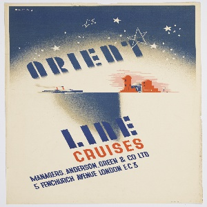 Steamship at center left approaching a city at center right, beneath a starry sky. Across the sky, at a diagonal angle, in blue text: ORIENT. Below, in blue and red text: LINE / CRUISES / MANAGERS. ANDERSON. GREEN & CO LTD / 5 FENCHURCH AVENUE LONDON EC3.