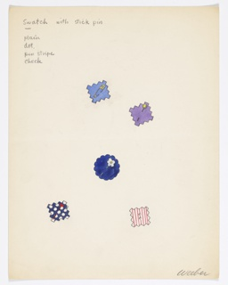 On a single sheet of paper: 5 color drawings of fabric swatches (in shades of blue, one polka-dotted, one red-striped), each pierced by a type of pin.