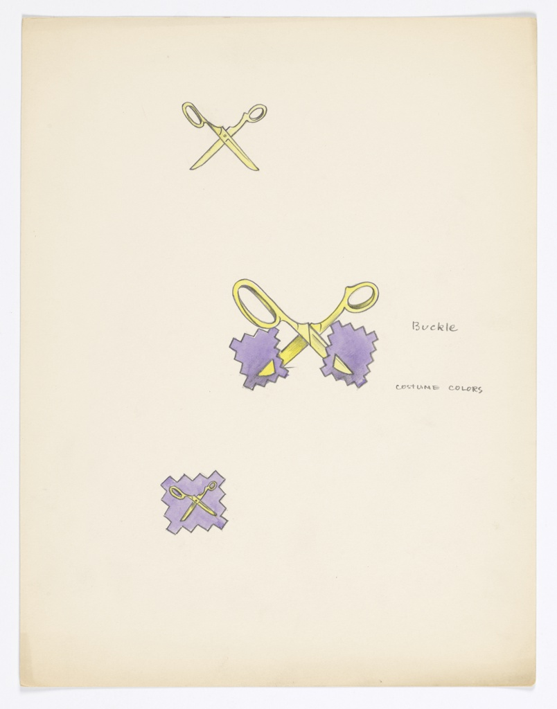 On a single sheet: 1 drawing of pair scissors; 1 drawing of  purple fabric swatch cut in half by scissors (to be a buckle design); and 1 drawing of scissors on purple fabric swatch.