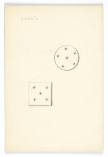 On single illustration board: 2 drawings cookies (one round, one square).