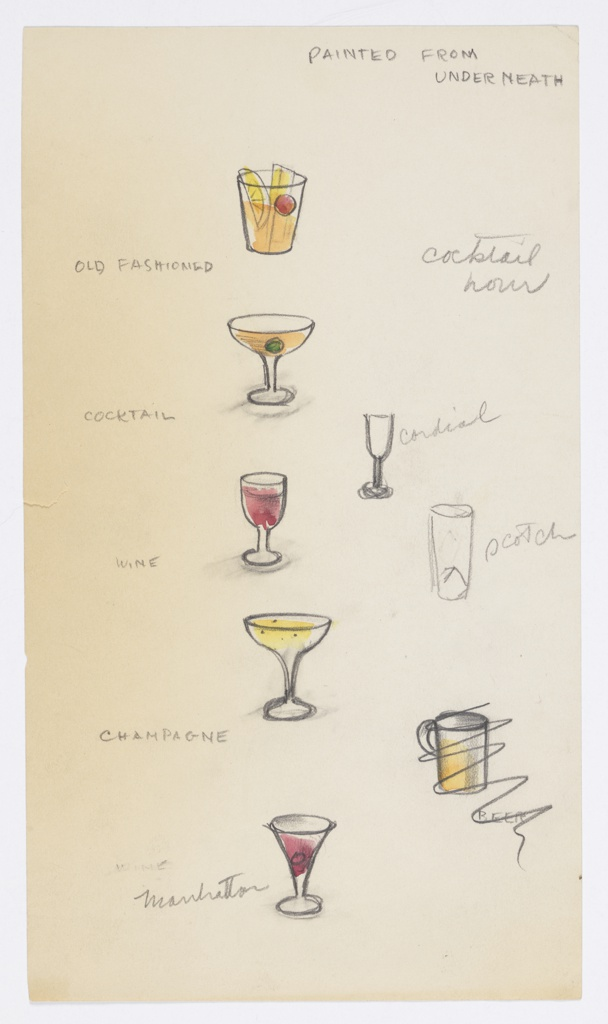 8 drawings on a single sheet of paper: images of glasses of cocktails (e.g. Old Fashioned, wine, champagne, Manhattan, cordial, scotch)  and 1 scratched-out drawing of beer mug, and pencilled inscriptions.