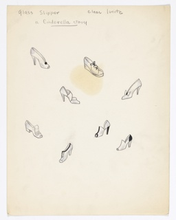 On a single sheet of paper: 8 drawings of different styles of  shoes (intended to be executed as clear lucite buttons).