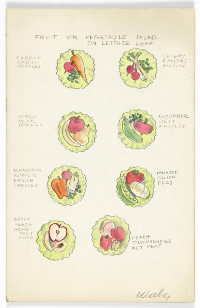 Drawing, Button Design: Fruit or Vegetable Salad on Lettuce