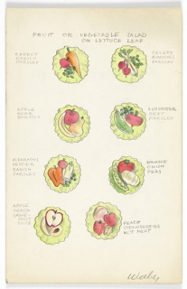 8 drawings  on single illustration board:  fruit or vegetable salads on lettuce leaves, loosely arranged in 4 pairs.  Salad types include: carrot, radish, parsley at upper left; celery, radishes, parsley at upper right; apple, peach, grapefruit slice at lower left; peach, strawberries, nut meat at lower right.