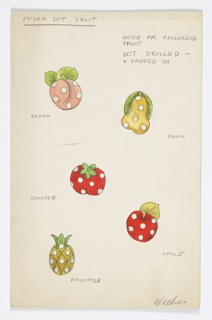 5 drawings on a single sheet of paper:  colored polka dot fruits (peach, pear, tomato, apple, pineapple).