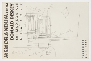 Rough sketch on Donald Deskey memo sheet of wall elevation for Jascha Heifetz apartment game room and bar in New York, NY. At center, rough front elevation with dimensions for rectangular cabinet/shelving unit; side elevation (?) at left, and plan below. Notations throughout.