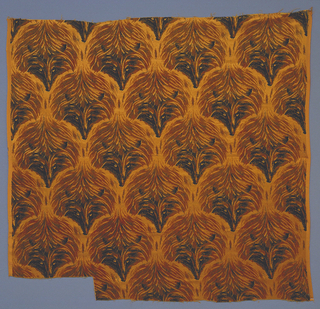 Gold-coloured satin ground with repeating pattern of a fox's head in dark gold  and black cut velvet, forming an irregular ogival pattern.