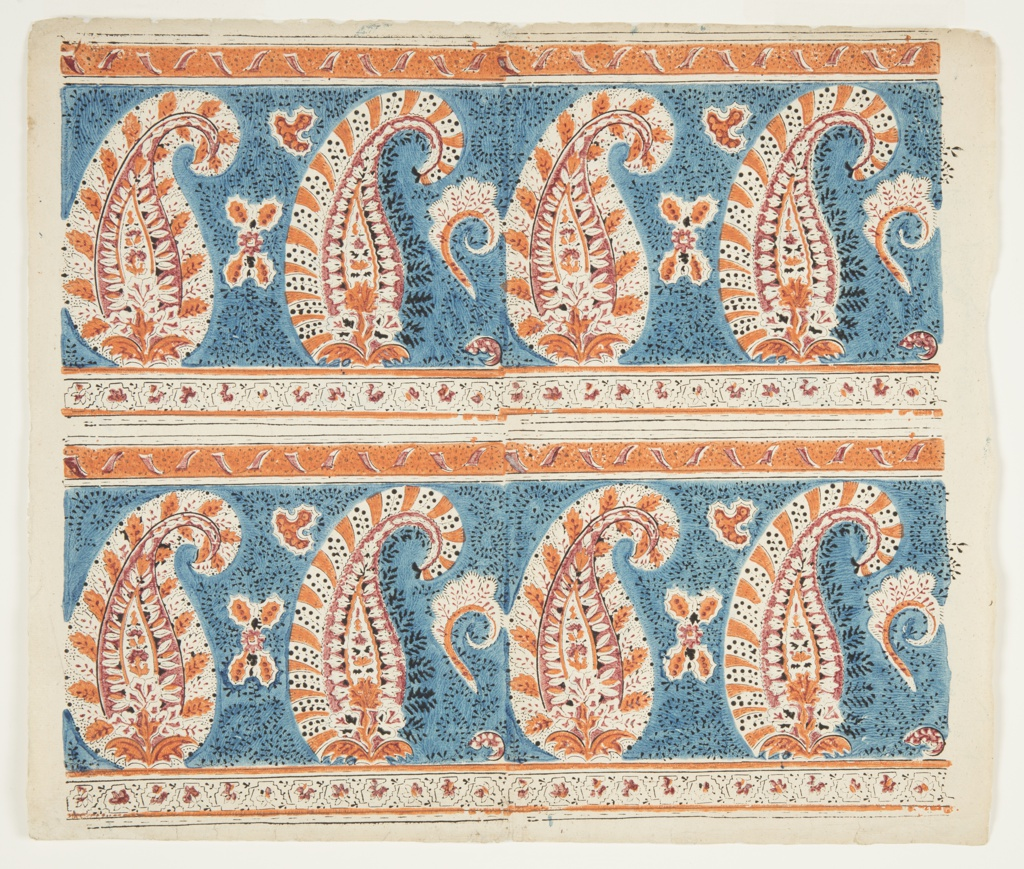 Decorated Paper, Book Endpaper Design: Two Paisley Bands