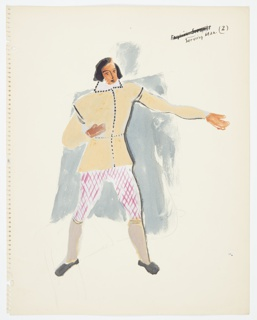 """Drawing, Costume Design: Study for Serving Man, for """"Queen of Scots"""""""