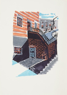 Illustration for a 1929 edition Arnold Bennett's book, Elsie and the Child. In the foreground, a building with brown siding and a brick wall intersecting it. In the background, a gray row houses under a blue sky.
