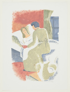 Illustration for a 1929 edition Arnold Bennett's book, Elsie and the Child. A figure lying, face up, in bed is comforted by a second figure sitting at the bedside in a green dress. In the background, a green curtain frames a window.