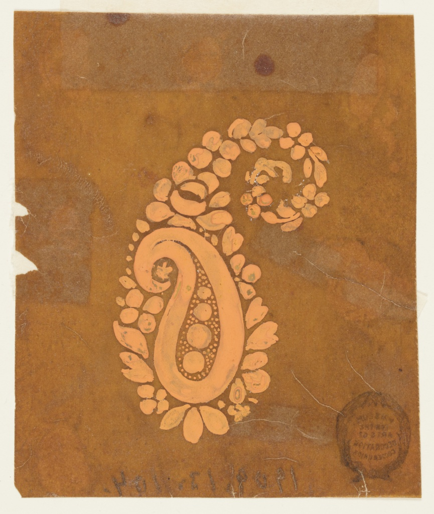 Design for paisley (a woven Persian cone). Consists of a small cone that sits inside a larger one. The design for the larger cone contains flowers and leaves, while the smaller cone within contains a thick outline, with four circles against a dotted ground inside.