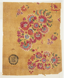 Design for a woven shawl featuring two paisley motifs, also referred to as Persian cones. The designs consist of blossoms in multiple colors, including dark red, light red, blue, and purple, and green calyces and leaves. The paisley design on the left is smaller than the other design on the right, which is positioned obliquely. Two flower boughs and parts of red blossoms surround the lower part of the design on the right.