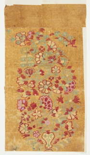 Design for a woven shawl with paisley motif. The motif, also known as a Persian cone, is formed by red, yellow, pink, and green blossoms, green stems, and a few green leaves rising from a calyx. A flower bough is positioned to the right of the motif at the top.
