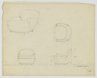 Drawing, Armchair, Upholstered, ca. 1936