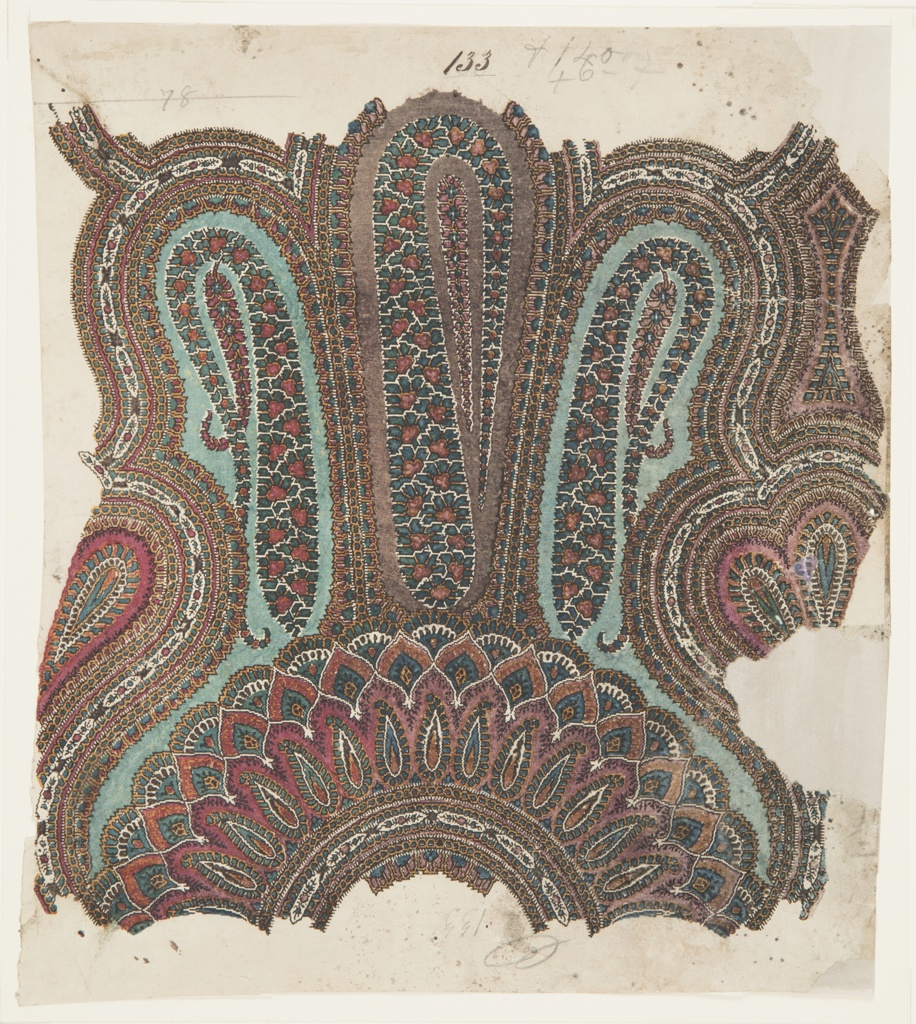Design for a paisley machine-woven shawl. Design shows a semicircular arrangement of leaf-like forms and shaped panels with paisley cone motifs, consisting of the colors dark blue, light blue, brown, maroon, and navy.