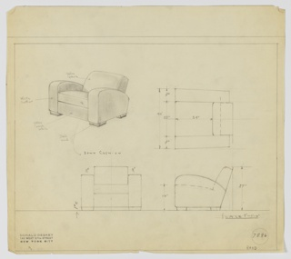 Upholstered armchair for George C. and Eleanor Hutton Rand apartment. Perspective drawing in upper left corner showing slightly reclined back, wide seat, and low to ground profile. Back and seat in yellow fabric, arms in white leather, and below seat in rough yellow fabric. Chair feet in dark wood and down seat cushion. Elevations and plans throughout.