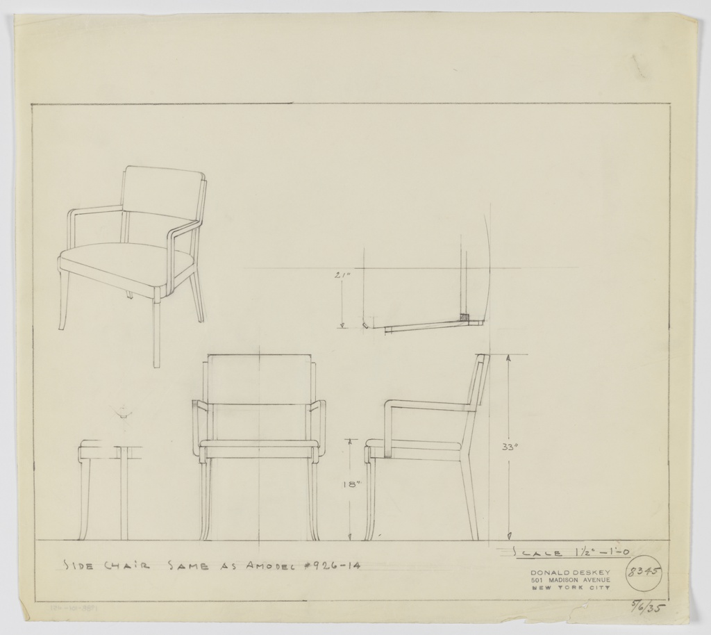 Drawing, Sidechair, Upholstered