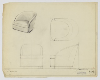 Drawing, Tubchair, Upholstered