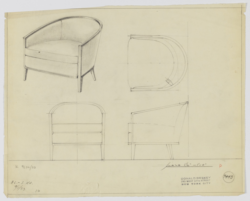 Drawing, Tubchair, Upholstered, 1933
