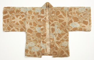 Short, straight kimono with set-in sleeves in coarse cotton in an allover floral print in shades of light blue, gold and white on a tan ground. Hand sewn with heavy blue cotton thread.
