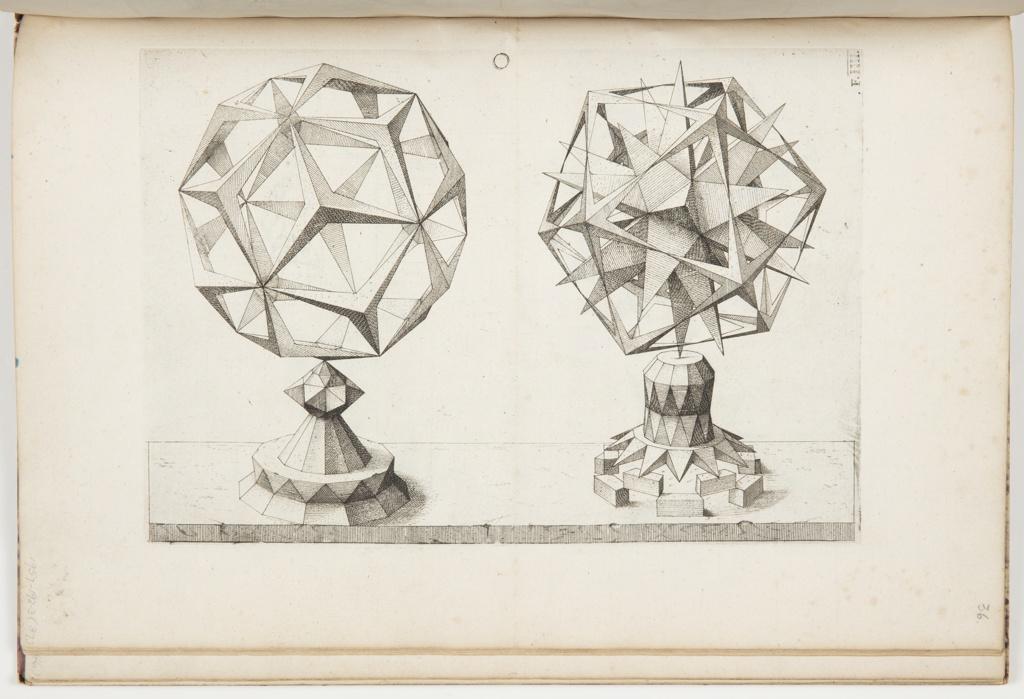 Print, Plate O, F.IIII, Rhombentrikontaeder und Ikosaeder (Rhombic Triacontrahedron and Icosahedron), Perspectiva Corporum Regularium (Perspective of the Regular Bodies)