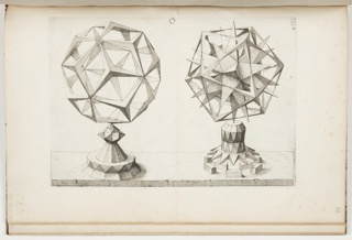 Print, Plate O, F.IIII, Rhombentrikontaeder und Ikosaeder (Rhombic Triacontrahedron and Icosahedron), Perspectiva Corporum Regularium (Perspective of the Regular Bodies)