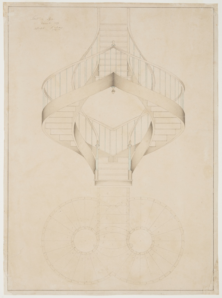 Drawing, Double Spiral Staircase Elevation and Plan View
