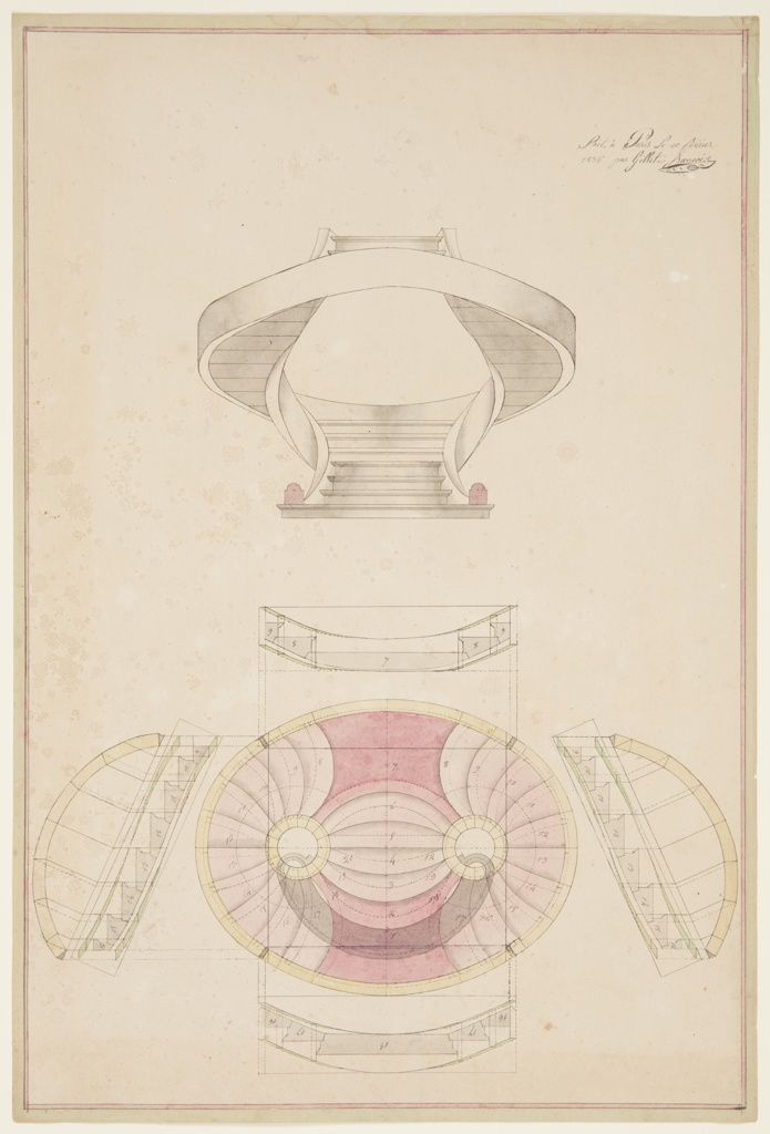 "Sectional elevation (above) and plan (below) for a twenty step ""English Style"" spiral staircase. Starts as a single flight, and then splits into two curved sections before rejoining to form a single flight at the top.  Numbered annotations on each step."