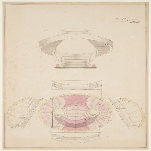 """Sectional elevation (above) and plan (below) for a twenty step """"English Style"""" spiral staircase. Starts as a single flight, and then splits into two curved sections before rejoining to form a single flight at the top.  Numbered annotations on each step."""