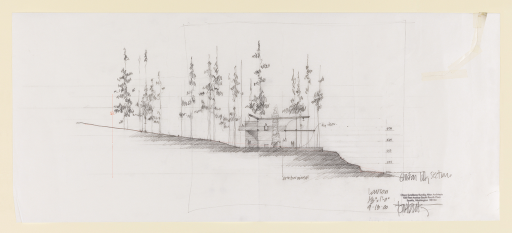 Elevation of a house with thin trees surrounding it.