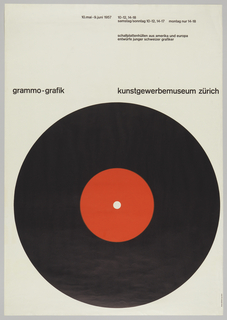 Brown background with 33 RPM record in black and red. Horizontal, black text at top of poster.