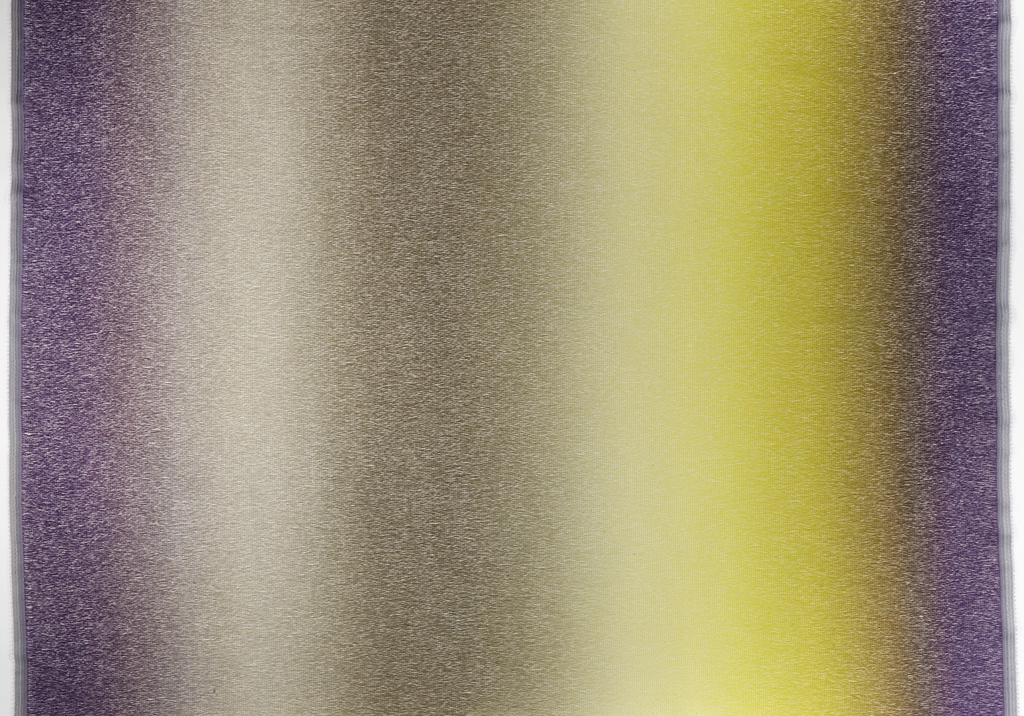 Multi-colored ombre of vertical columns of purples, grays and yellows bleeding into one another extremely gradually.