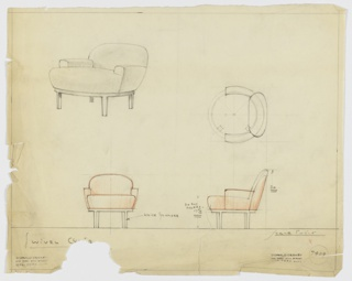 Drawing, Armchair, Swivel, Upholstered